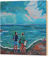 A Day On New Jersey Beach Wood Print