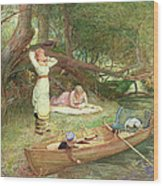 A Day On The River Wood Print
