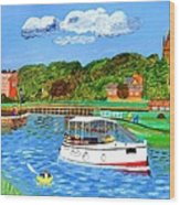 A Day On The River In Exeter Wood Print