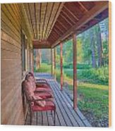 A Deck By The Methow River At Cottonwood Cottage Wood Print