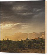 A Desert Monsoon Sunset  Wood Print