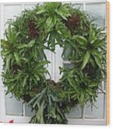 A Different Christmas Wreath Wood Print