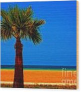 A Digitally Converted Painting Of A Lone Palm Tree At The Seaside Wood Print