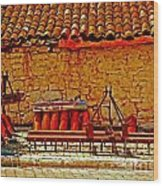 A Digitally Converted Painting Of Farm Machinery In A Turkish Village Wood Print
