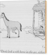 A Disgruntled Horse Has His Rear End Facing Wood Print
