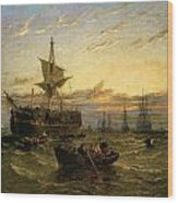 A Dismantled East Indiaman In The Thames Estuary Wood Print by William Adolphus Knell