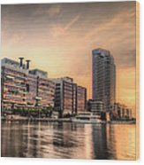 A Docklands Sunset Wood Print