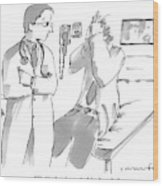A Doctor Is Talking To A Patient Seated Wood Print
