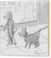 A Dog Being Walked On A Leash Asks A Dog Who Wood Print