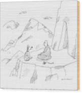 A Dog Speaks To A Guru On Top Of A Mountain Wood Print