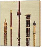 A Double Flageolet, A German Flute Wood Print