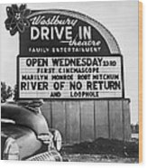 A Drive-in Theater Marquee Wood Print