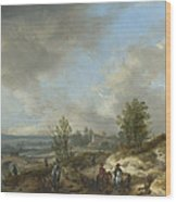 A Dune Landscape With A River And Many Figures Wood Print