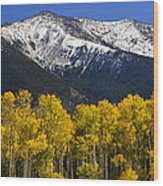 A Dusting Of Snow On The Peaks Wood Print