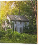A Fading Memory One Summer Morning - Abandoned House In The Woods Wood Print