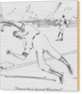 A Falling Baseball Player Fails To Catch A Ball Wood Print