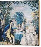 A Family Group In A Garden Wood Print