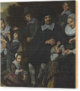 A Family Group In A Landscape Wood Print