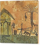 A Farm In India With Hut And Bull Cart Wood Print