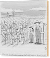 A Farmer And His Daughter Look At Cornstalks Who Wood Print by Paul Noth