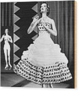 A Fashionable Mannequin And Her Unclothed Version In The Backgro Wood Print by Underwood Archives