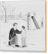 A Father Encourages His Son At The Playground Wood Print
