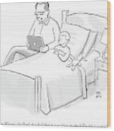 A Father Is Reading His Son A Bedtime Story Wood Print