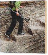 A Female Hiker Walking Up Steps Chopped Wood Print