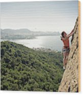 A Female Rock Climber In Action In Rio Wood Print