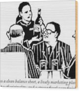 A Female Sommelier Presents A Bottle Of Wine Wood Print