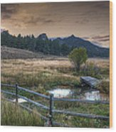 A Fence In A Field Wood Print