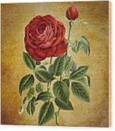 A Fifth Vintage Rose Wood Print