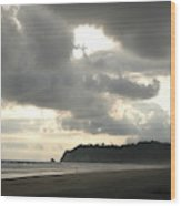 A Figure Strolls Along The Beach, Playa Wood Print