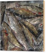A Fine Catch Of Trout - Steel Engraving Wood Print