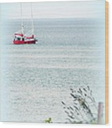 A Fine Day For A Red Boat Wood Print