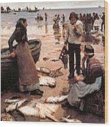 A Fish Sale On A Cornish Beach Wood Print