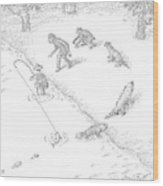 A Fisherman Wading In The Water  Catches A Fish Wood Print