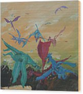 A Flight Of Dragons Wood Print