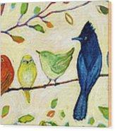 A Flock Of Many Colors Wood Print