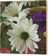 A Flower Basket Wood Print