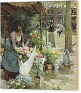A Flower Market In Paris Wood Print