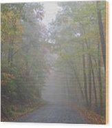 A Foggy Drive Wood Print by Judy  Waller