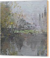 A Foggy Fall Day By The Pond  Wood Print