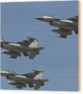 A Formation Of Turkish Air Force F-16cd Wood Print