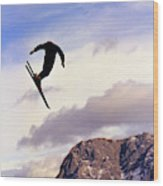 A Freestyle Skier Takes A Jump In Utah Wood Print