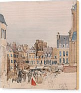 A French Market Place Wood Print