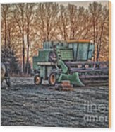 A Frosty John Deere Turbo 7700 Combine Wood Print