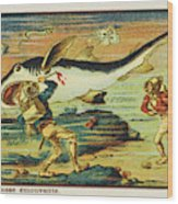 A Futuristic Shark Hunt On The Seabed Wood Print