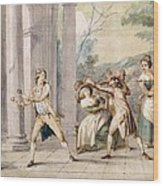 A Game Of Blind Mans Buff, C.late C18th Wood Print