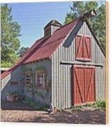 A Garden Barn Wood Print